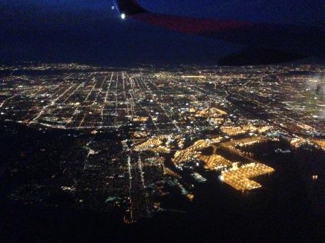 LA from above- goodbye, California!