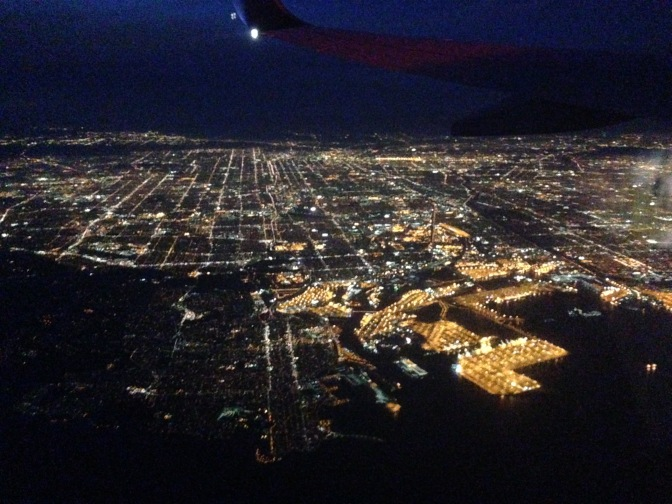 LA from above- goodbye, California!