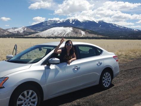Presenting Mt. Humphreys, highest peak in Arizona. Also, do not recommend driving with passenger door open.
