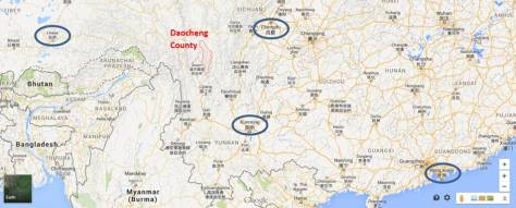 Daocheng county in red, relative to Lhasa (capital of Tibet), Chengdu (of Sichuan), Kunming (of Yunnan) and Hong Kong (our starting point!)